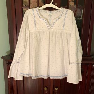 New Crown & Ivy White Bell Sleeve Cotton Top L